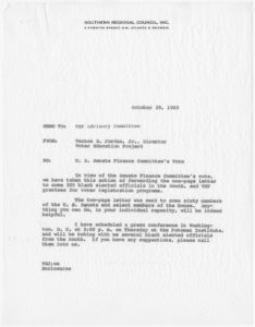 Correspondence regarding tax legislation impacting voter registration drives,Voter Education Project (Southern Regional Council),1969 October,John H. Wheeler collection