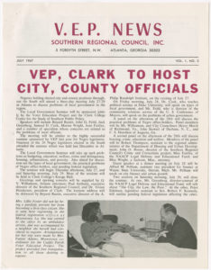 VEP News Vol. 1, No. 2,Voter Education Project (Southern Regional Council),1967 July,John H. Wheeler collection