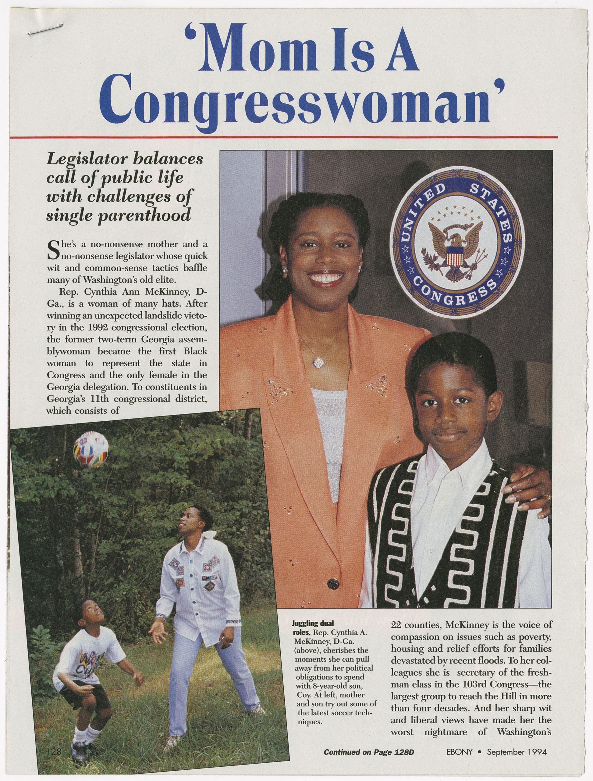 Mom Is A Congresswoman, Ebony1994 SeptemberCynthia McKinney Biographical File