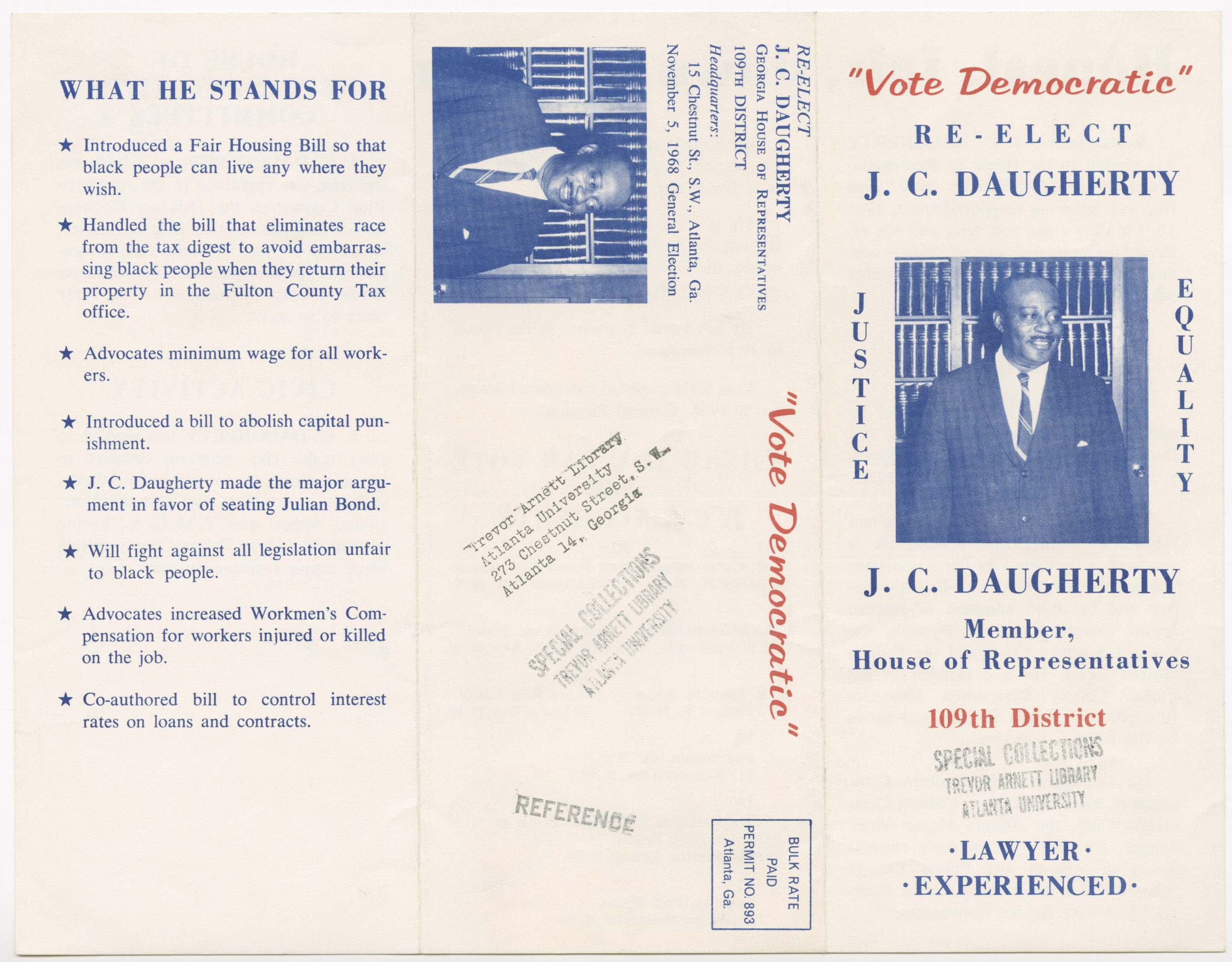 J.C. Daugherty campaign brochure, Julius Cornelius Daugherty, 1924-1987, 1968, Julius C. Daugherty, Sr. biographical file