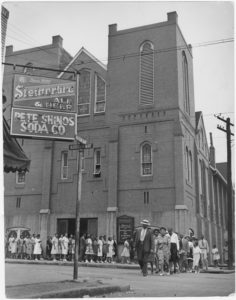 Line of voters outside Ebenezer Baptist Church led by Martin Luther King, Sr., 1946 July,Grace Towns Hamilton papers