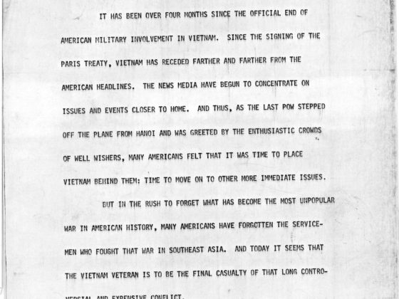 Vietnam Veteran's Conference Speech, Maynard Jackson, 1973 June 7, Maynard Jackson mayoral administrative records: Series D: Speeches and speaking requests