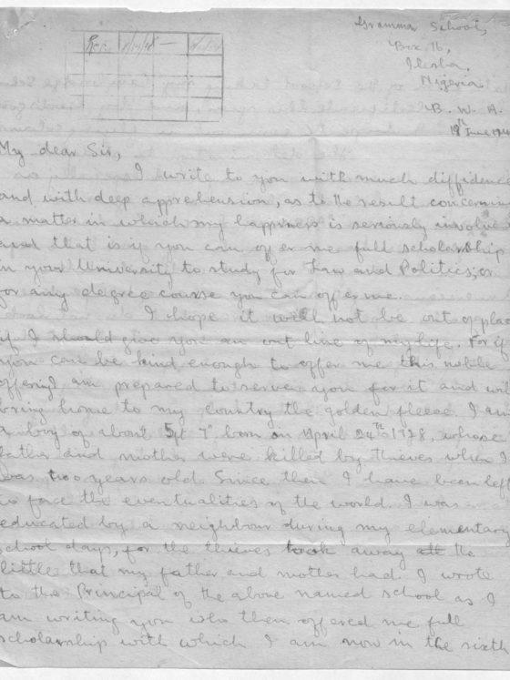 Correspondence from Emman Fadaka of Nigeria, June 19, 1948, Rufus E. Clement records