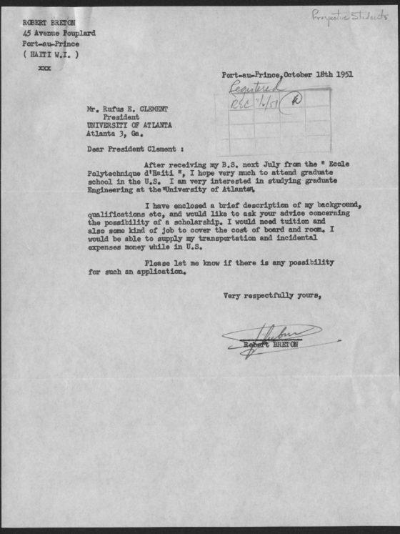 Correspondence from Robert Breton of Haiti, October 18, 1951, Rufus E. Clement records