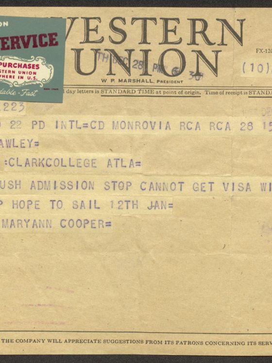 Telegram from Maryann Cooper of Liberia, circa 1940, James P. Brawley collection