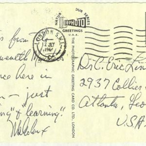 Postcards from Malcolm X, circa 1964, C. Eric Lincoln collection