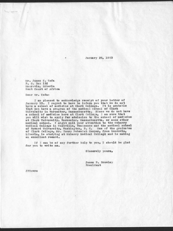 Correspondence from James Kofa of Liberia, March 6, 1953, James P. Brawley collection
