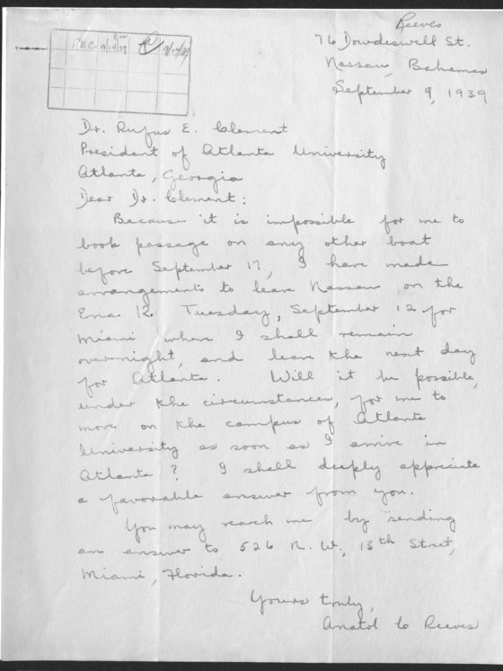 Correspondence from Anatol Reeves of the Bahamas, September 9, 1939, Rufus E. Clement papers