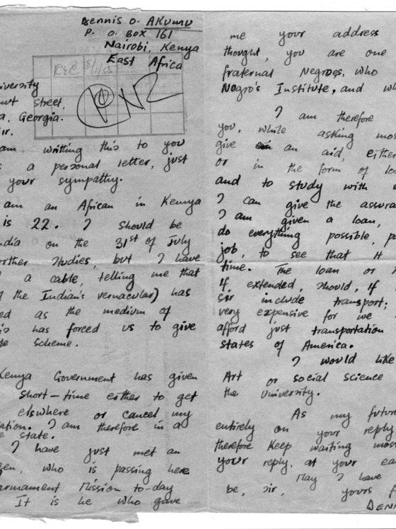 Correspondence from Dennis Akunu of Kenya, July 25, 1955, Rufus E. Clement records