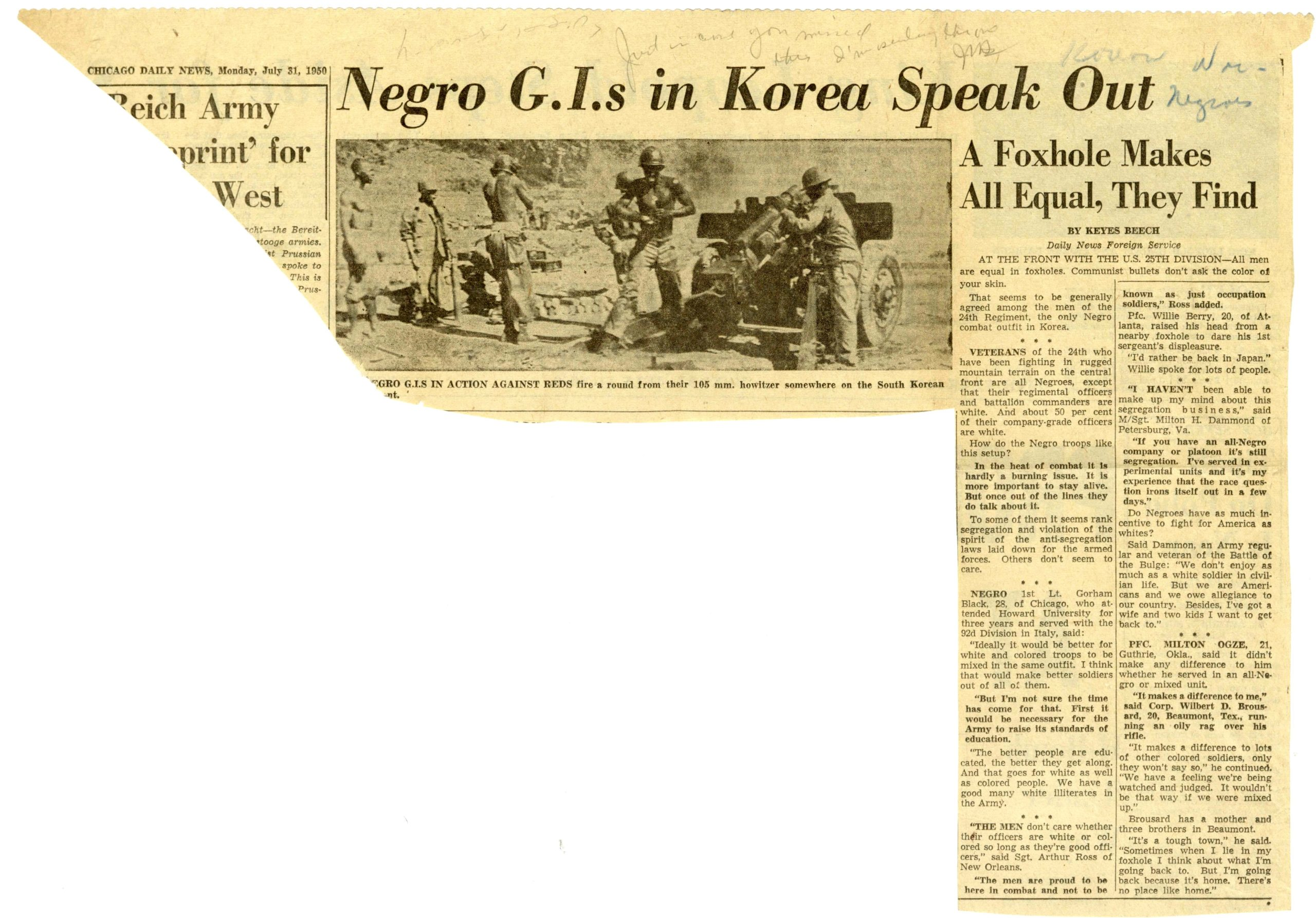 """""""Negro G.I.s in Korea Speak Out"""", Keyes Beech, 1950 July 31, Johnson Publishing Company clipping files collection, 1940-2020"""