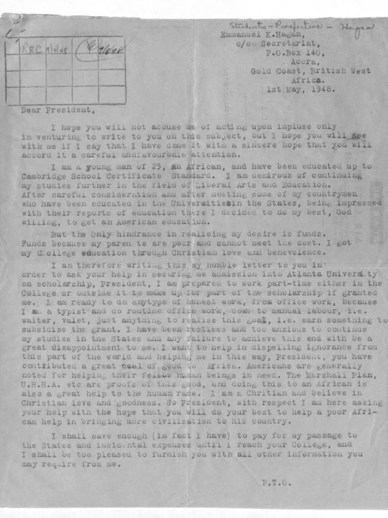 Correspondence from Emmanuel Hagan of Gold Coast (now Ghana), May 1, 1948, Rufus E. Clement records