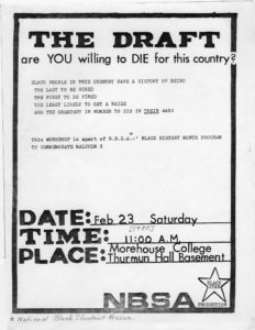 """The Draft: are YOU willing to DIE for this country?"", Morehouse College (Atlanta, Ga.), undated, Morehouse Vertical File"