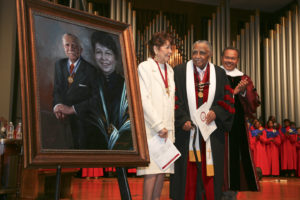 Dr. Joseph Echols Lowery and Evelyn Gibson Lowery at portrait dedication ceremony at Renaissance Sunday at Morehouse College