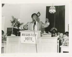 Dr. Joseph Echols Lowery speaking at a voter registration event in Georgia
