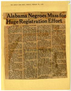 """Alabama Negroes Mass For Huge Registration Effort"""" Newspaper clipping"""