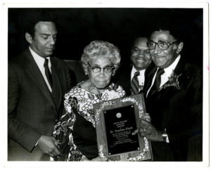Septima Clark receives Drum Major Special Award from Dr. Joseph Echols Lowery and Andrew Young