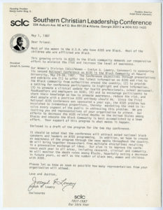 Correspondence from Joseph Echols Lowery announcing National Conference on AIDS in the Black Community conference at Howard University