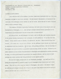 Statement by Dr. Martin Luther King