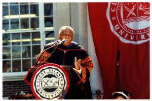 Dr. Joseph Echols Lowery delivering speech at Clark Atlanta University fall convocation, 2012