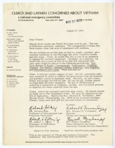 Signed Statement from Clergy and Laymen Concerned About Vietnam national emergency committee