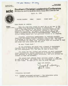 Southern Christian Leadership Conference Correspondence from  Dr. Joseph Echols Lowery