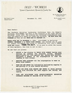 Correspondence from Evelyn Gibson Lowery discussing World AIDS Sunday