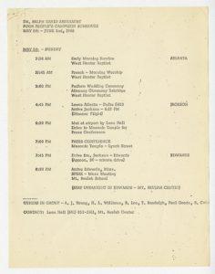 Poor People Campaign schedule May - June 1968